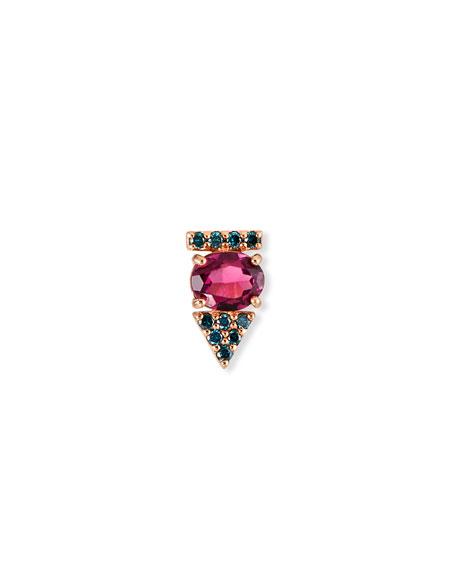 Stevie Wren 14K Rose Gold Rhodolite & Blue Diamond Arrow Stud Earring, Single