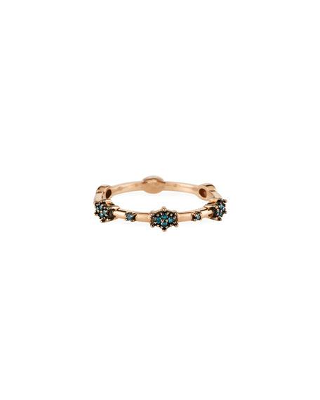 Stevie Wren 14k Rose Gold Blue Diamond Starburst Ring, Size 7