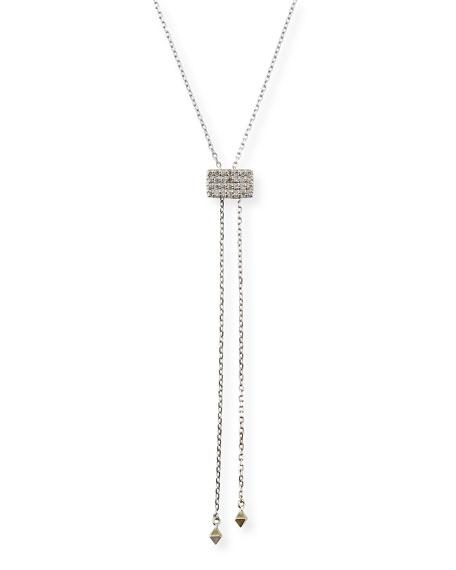 Stevie Wren 14k White Gold Geometric Lariat Necklace w/ Diamonds
