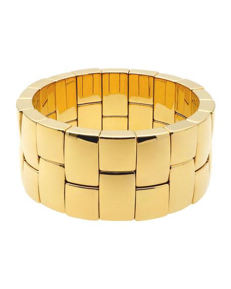Roberto Demeglio AURA 18k  Yellow Gold Overlay 2-Row Stretch Bracelet