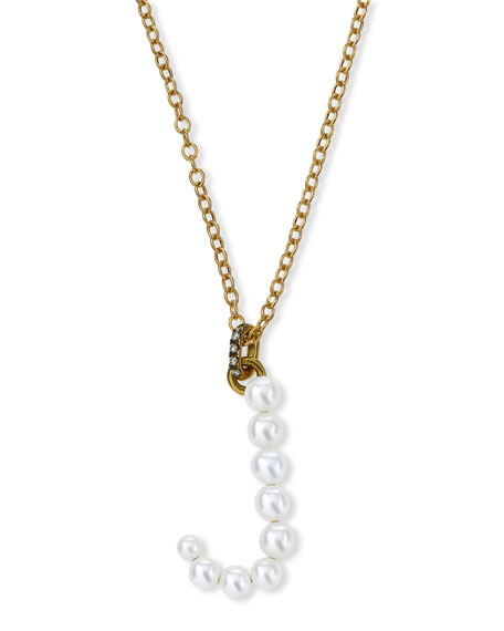 Jemma Wynne Prive 18k Pearl Letter J Necklace