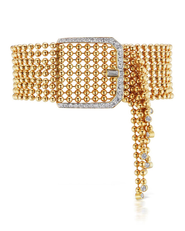 Flapper 18k Yellow Gold Diamond Buckle Bracelet