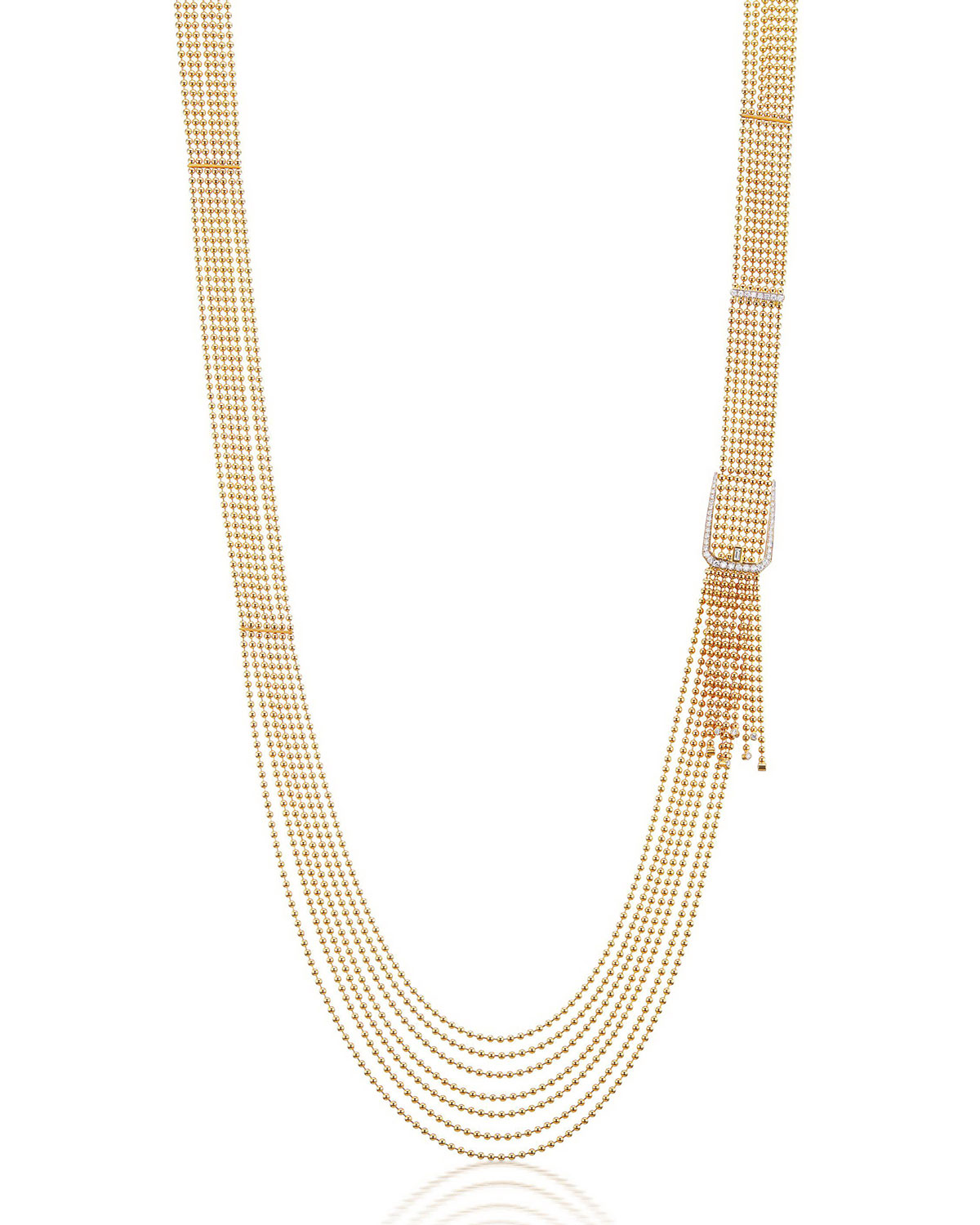 Flapper 18k Yellow Gold Diamond Buckle Necklace
