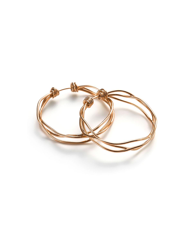 18k Rose Gold 3-Row Hoop Earrings