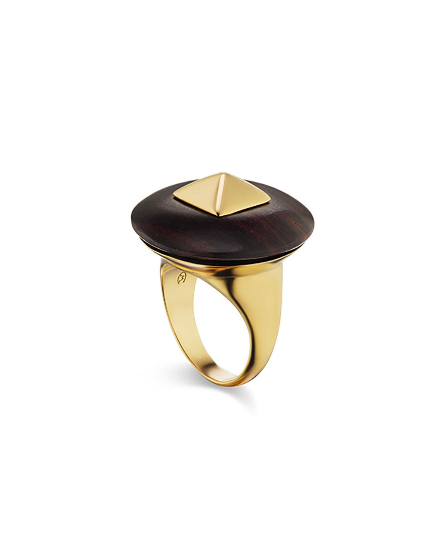 Voyager 18k Yellow Gold Wood Disk Ring