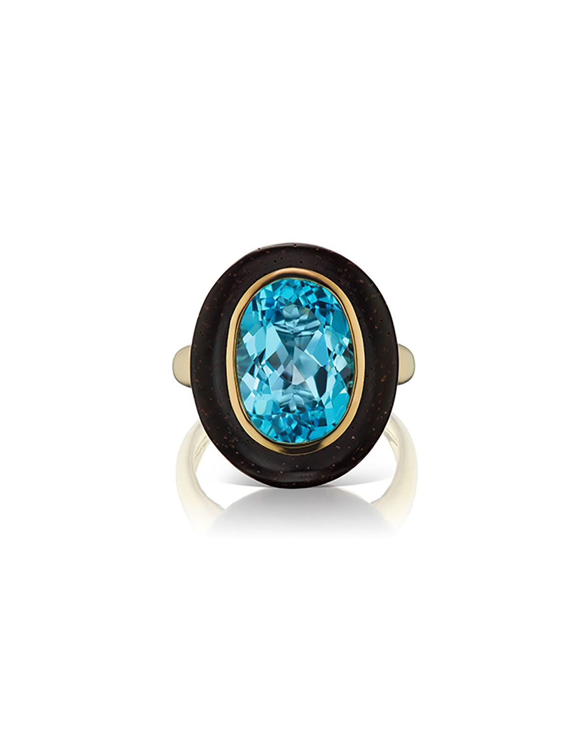 Voyager 18k Yellow Gold Blue Topaz Wood Oval Ring