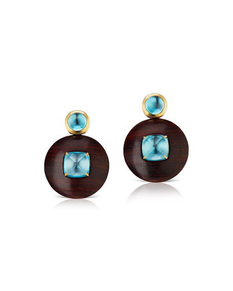 Maria Canale Voyager Blue Topaz Wood Disk Earrings