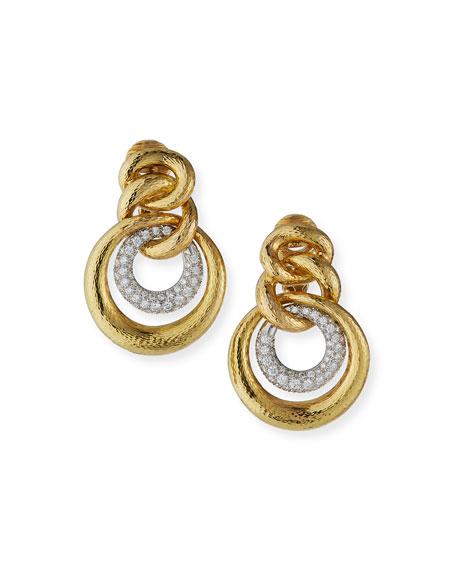 David Webb Double-Circle Diamond Drop Earrings
