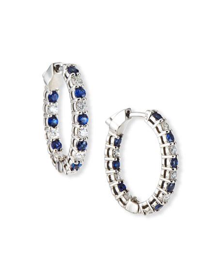NM Diamond Collection 18k White Gold Diamond/Blue Sapphire Hoop Earrings