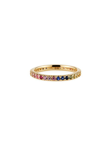 Stevie Wren 14k Rainbow Eternity Band Ring, Size 7