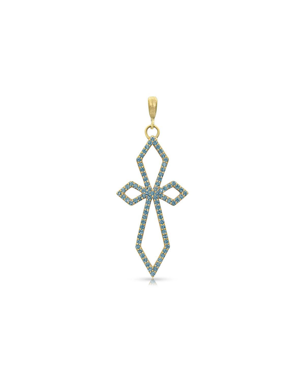 18k Yellow Gold Blue Diamond Delicate Deco Cross Pendant