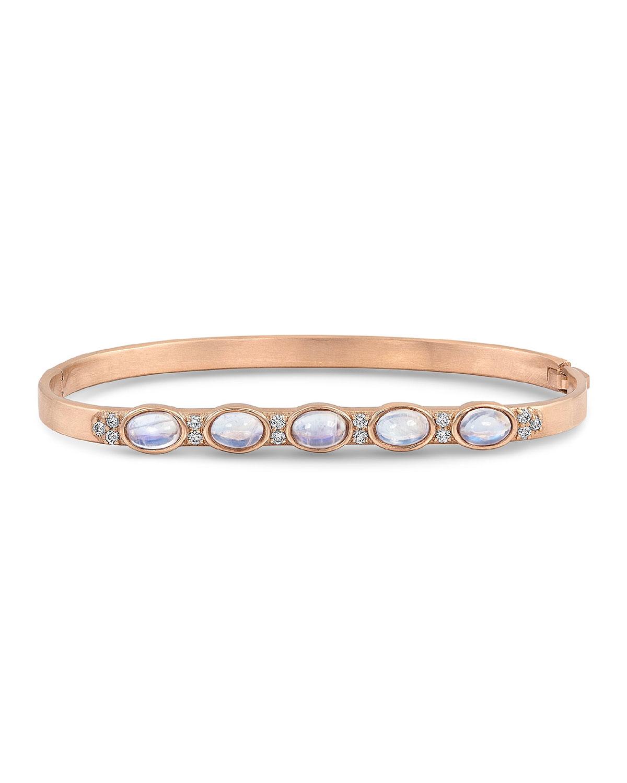 18k Rose Gold Moonstone Ovals & Diamond Hinged Bangle