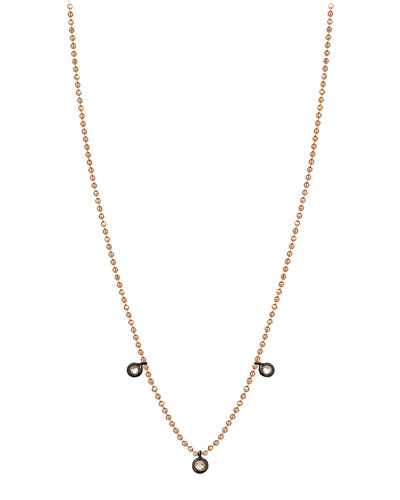 14k Rose Gold 3 Solitaires Champagne Diamond Ball Chain Necklace