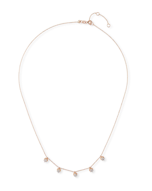14k Rose Gold Diamond Shaker Necklace