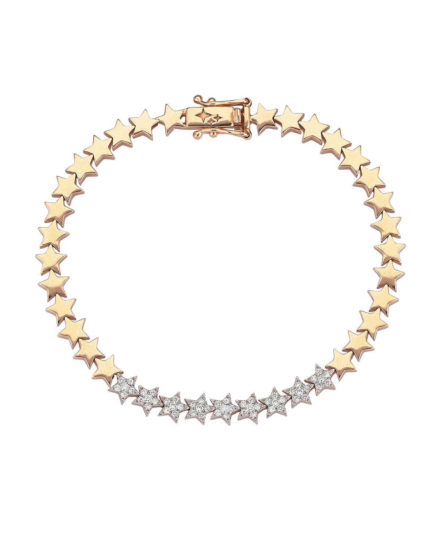 14k Rose Gold Diamond-Star Bracelet