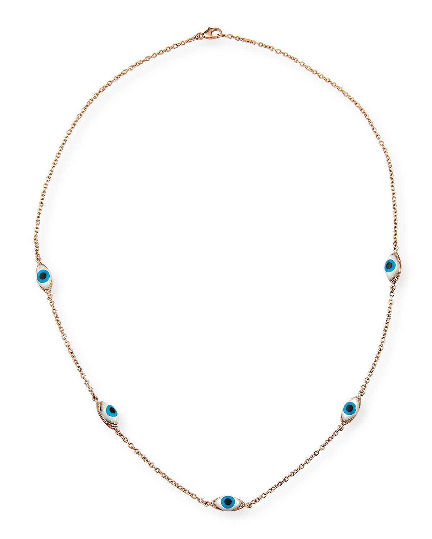 18k Rose Gold Mother-of-Pearl Evil Eye 5-Station Necklace