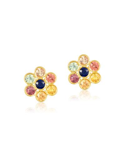 Tarakini Multi-Sapphire Flower Stud Earrings