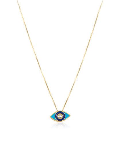 18k 1-Diamond Enamel Evil Eye Necklace