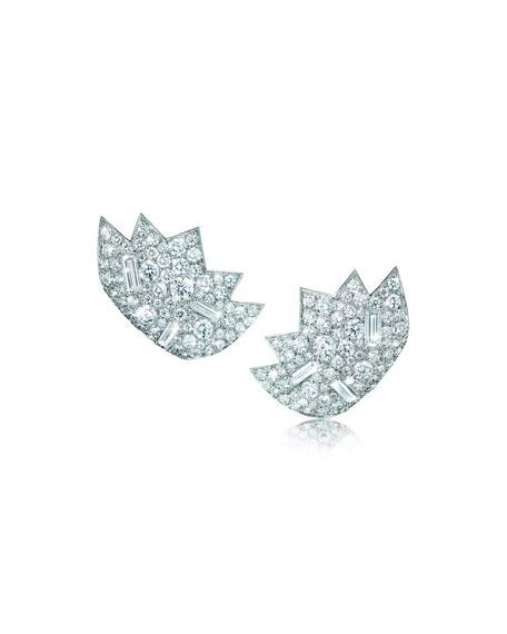 Verdura Stardust 18k White Gold Diamond Clip-On Earrings