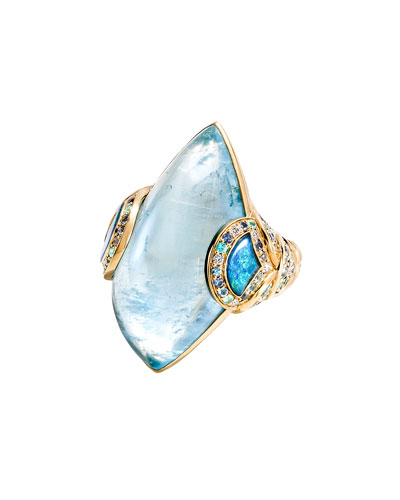 Cinta 18K Yellow Gold Aquamarine Naga Ring, Size 7