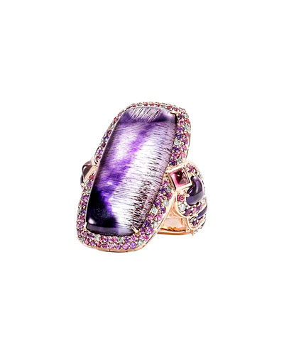 Cinta 18K Rose Gold Classic Chain Ring w/ Amethyst & Mother of Pearl ...