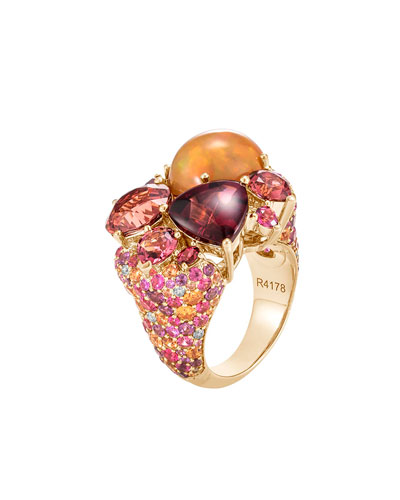 Cinta 18K Classic Chain Fire Opal Ring, Size 7
