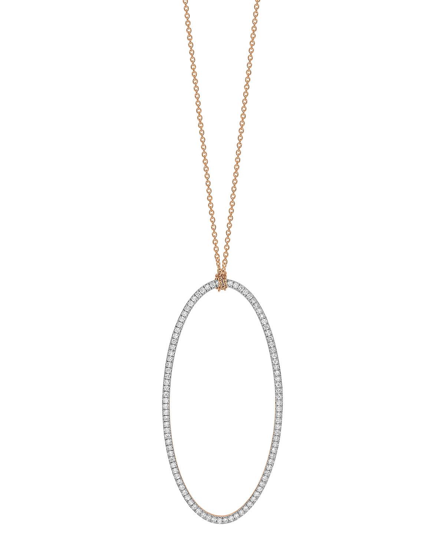 18k Rose Gold Jumbo Eclipse White Diamond Necklace