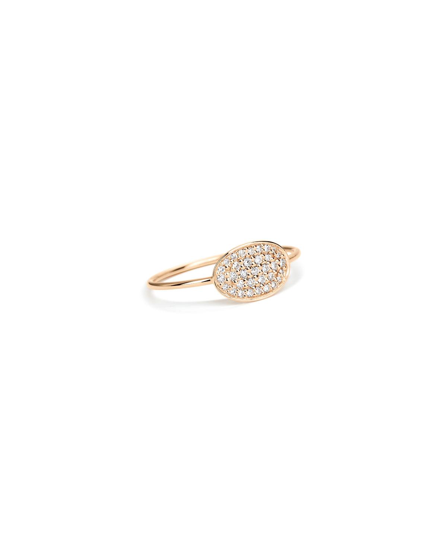 18k Rose Gold White Diamond Mini Sequin Ring