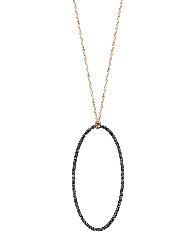 18k Rose Gold Jumbo Eclipse Black Diamond Necklace