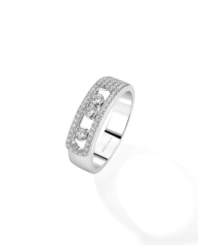 Move Noa Pave White Gold Ring, Size 59
