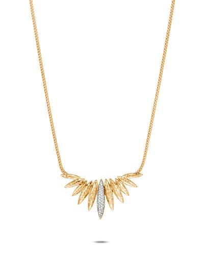 Classic Chain 18k Diamond Spear Mini Bib Necklace