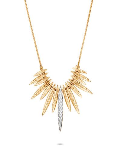 Classic Chain 18k Diamond Spear Bib Necklace