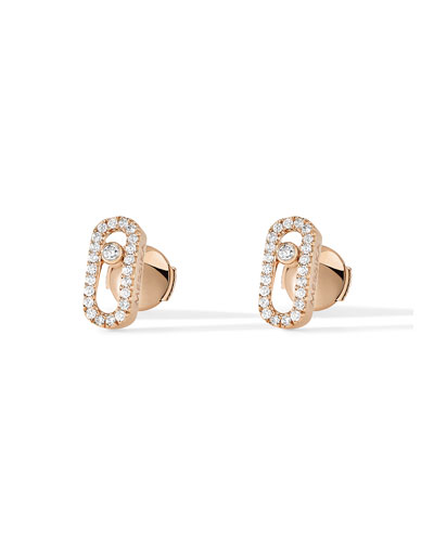 Move Uno Pave Diamond Earrings in 18K Rose Gold