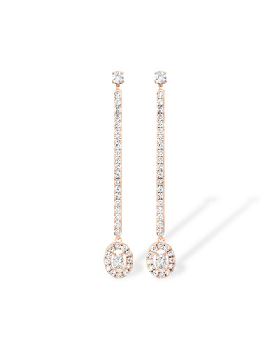 Glam'Azone Diamond Drop Earrings in 18K Pink Gold