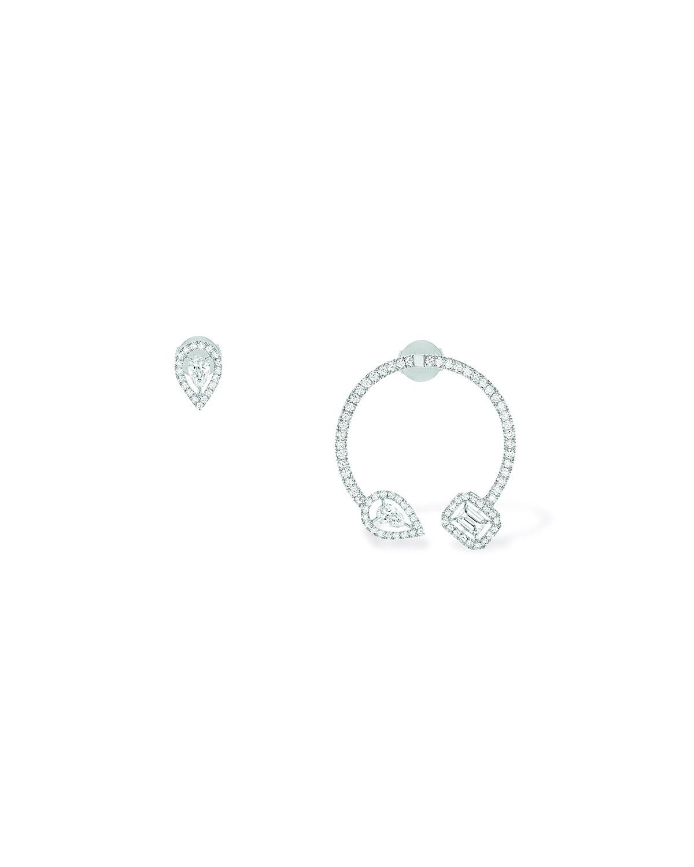 My Twin Mono Hoop and Stud 18k White Gold Diamond Earrings