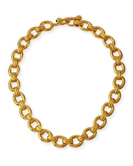 Elizabeth Locke 19k Gold Borgese-Link Necklace