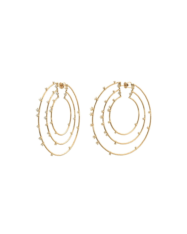 18k Diamond 3-Hoop Earrings
