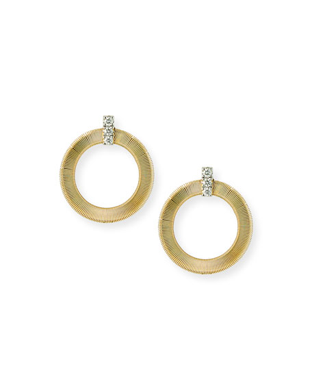 Marco Bicego Masai 14k Gold Circular Diamond-Post Earrings