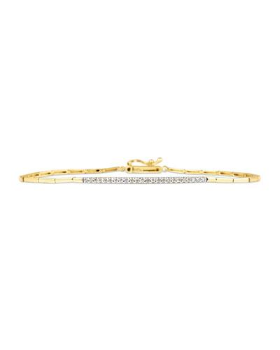 14k Yellow Gold White Diamond Tennis Bracelet