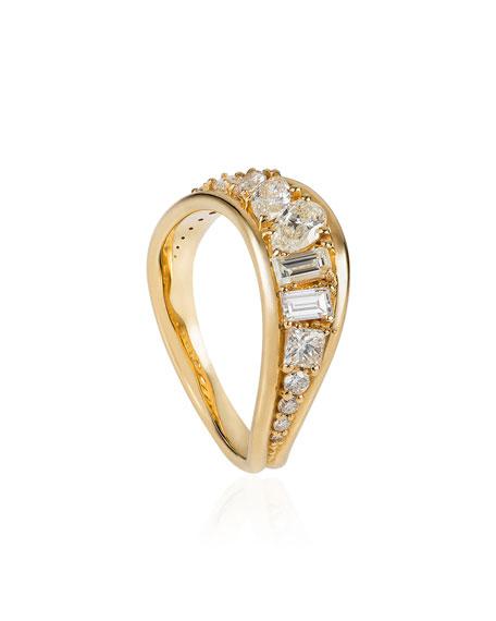 Fernando Jorge Stream Wave 18k Diamond Ring, Size 6.75