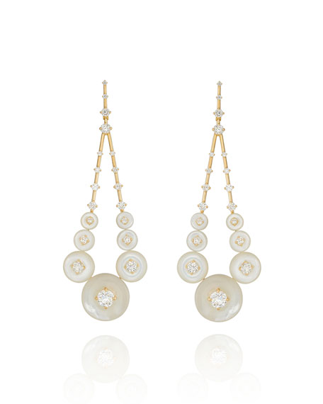Fernando Jorge Gravity 18k Diamond Dangle Earrings in Mother-of-Pearl