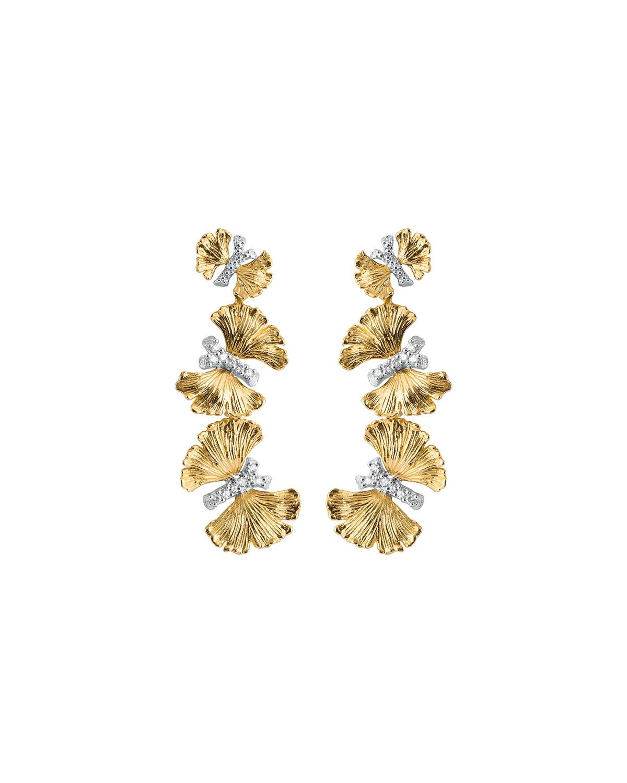 Butterfly Ginkgo Triple Drop Earrings with Diamonds