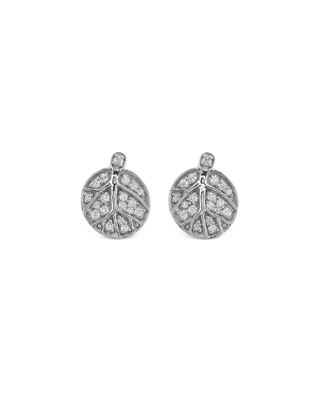 Botanical Leaf Diamond Stud Earrings