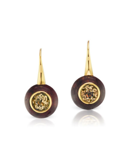 Maria Canale Voyager Wood and Topaz Drop Earrings