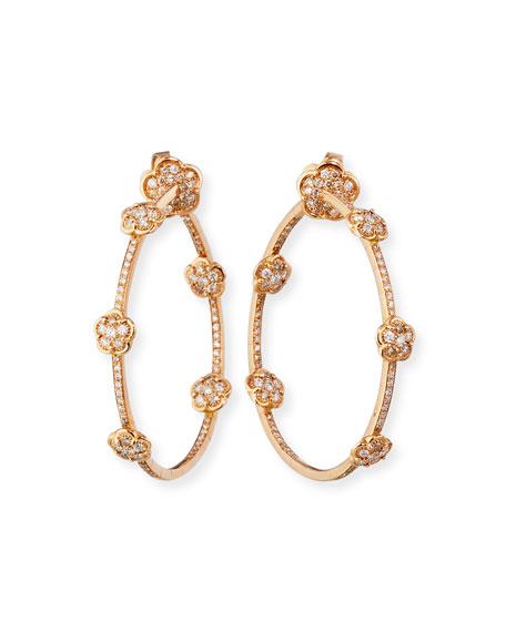 Pasquale Bruni 18k Rose Gold Diamond-Flower Hoop Earrings