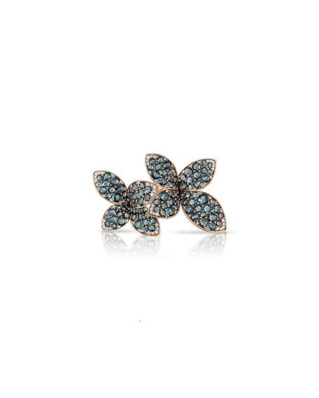 Pasquale Bruni Giardini Segreti 18k Rose Gold Blue Topaz 2-Flower Ring with Diamonds, Size 6.5