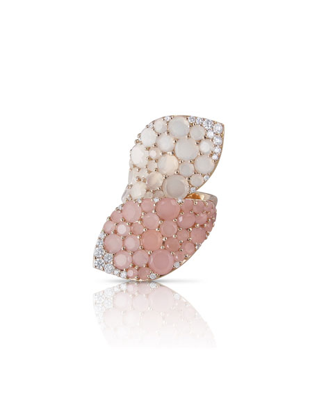 Pasquale Bruni 18k Rose Gold Chalcedony and Moonstone Bypass Ring with Diamonds, Size 6.5