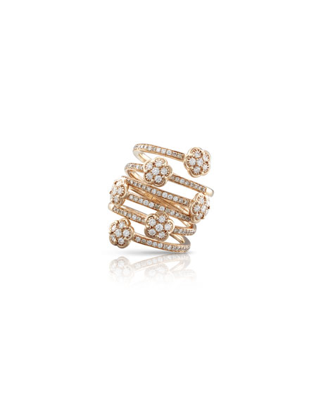Pasquale Bruni 18k Rose Gold Diamond 6-Flower Coil Ring, Size 5.75