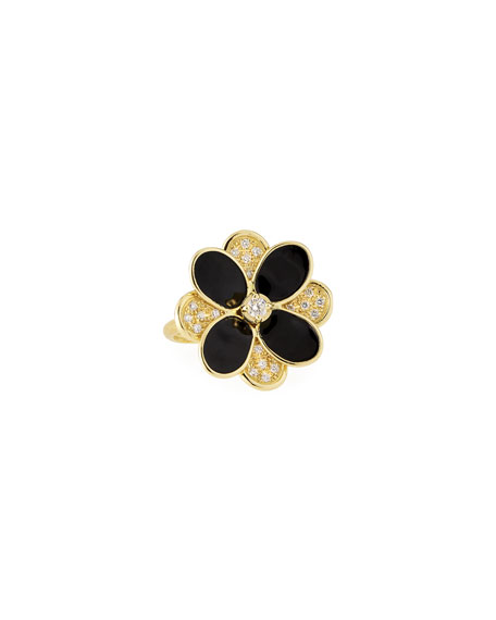 Marco Bicego Petali Enamel and Diamond Pave Ring, Size 7