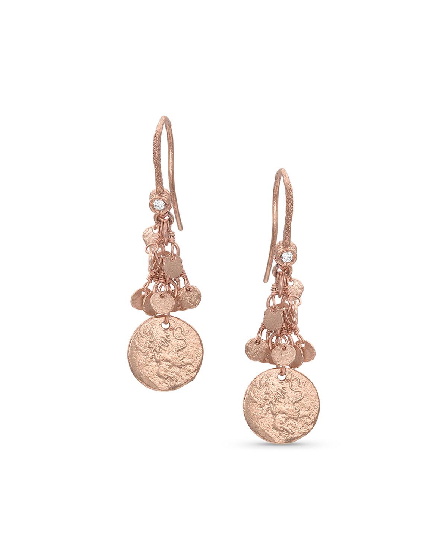 18k Rose Gold Griffin Coin Classic Fringe Earrings